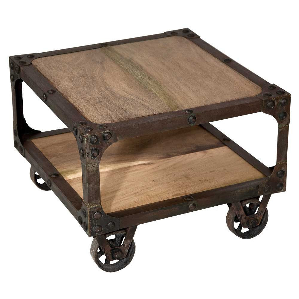 Rustic Industrial Wheeled Wooden Coffee Table The Yorkshire Furniture Company