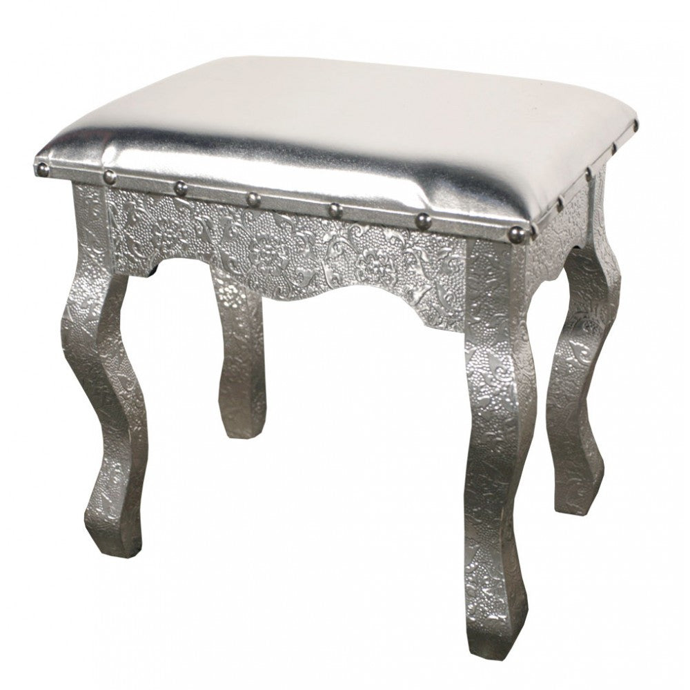 Silver embossed patterned metal dressing table stool the