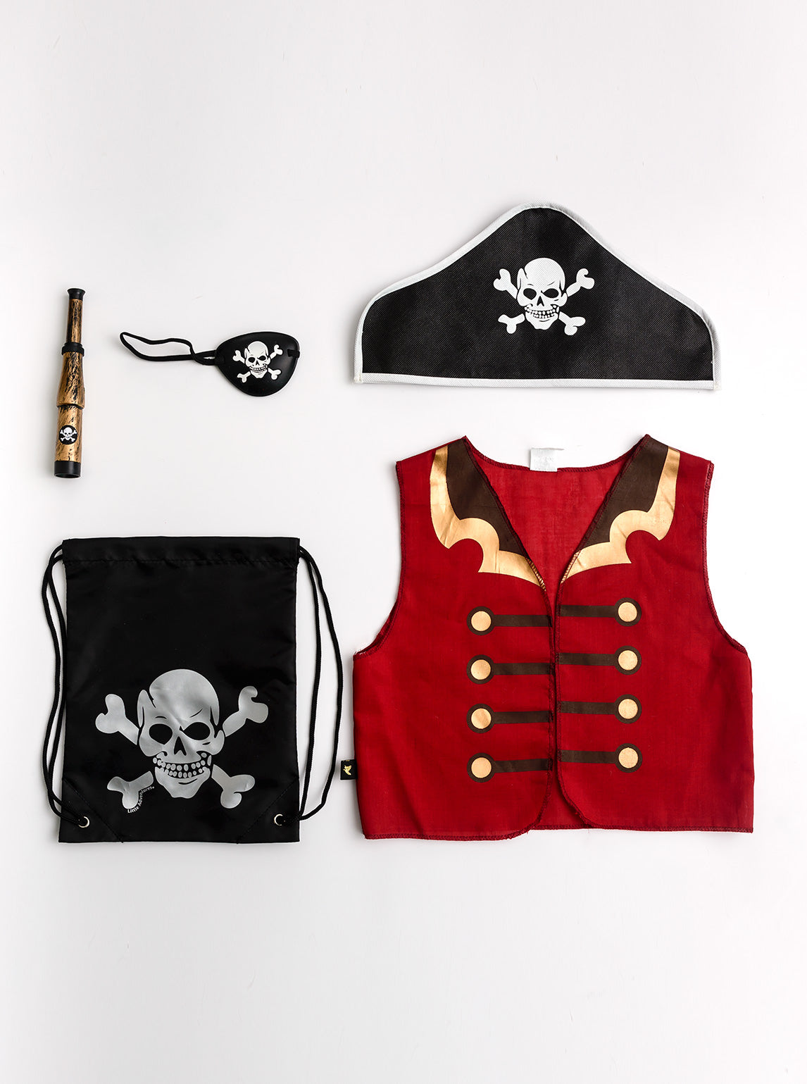 Little Adventures Pirate Gift Set is a perfectly packaged pretend play set that conveniently fits inside its matching drawstring bag. Give as a gift or just because, this Gift Set is all you need! Intended for ages 3-5 this set comes with a Pirate Vest, Pirate Telescope, Pirate Hat, Eye Patch, and Pirate Drawstring Bag.