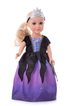 Doll Dress Sea Witch with Soft Crown