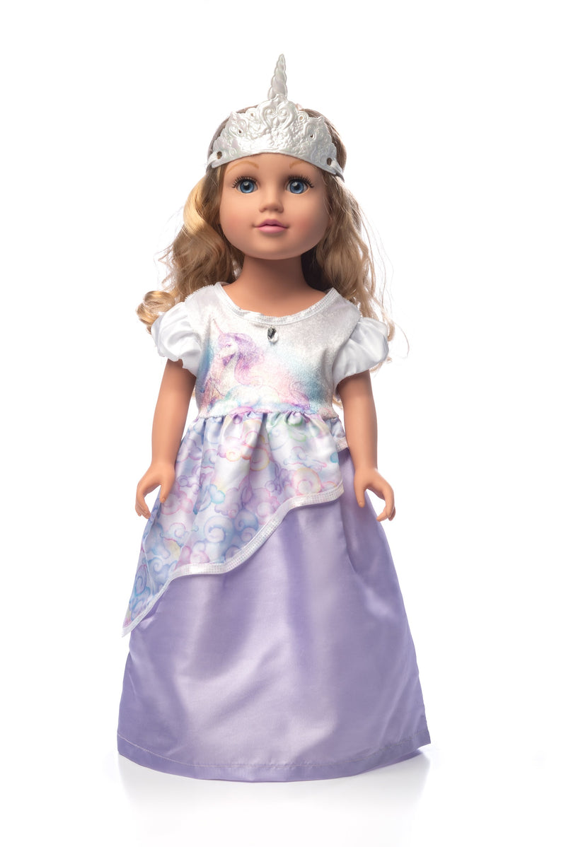 Doll Dress Unicorn Princess with Soft Crown