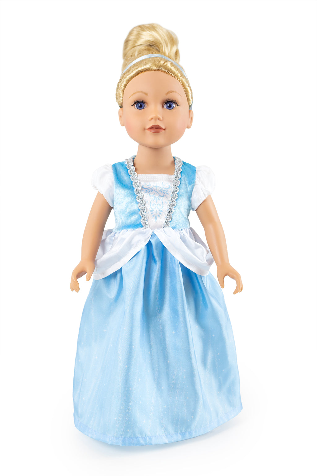 Cinderella blue princess doll dress clothes clothing outfit dressup role play pretend play kid washable American girl madame alexander queen ball gown