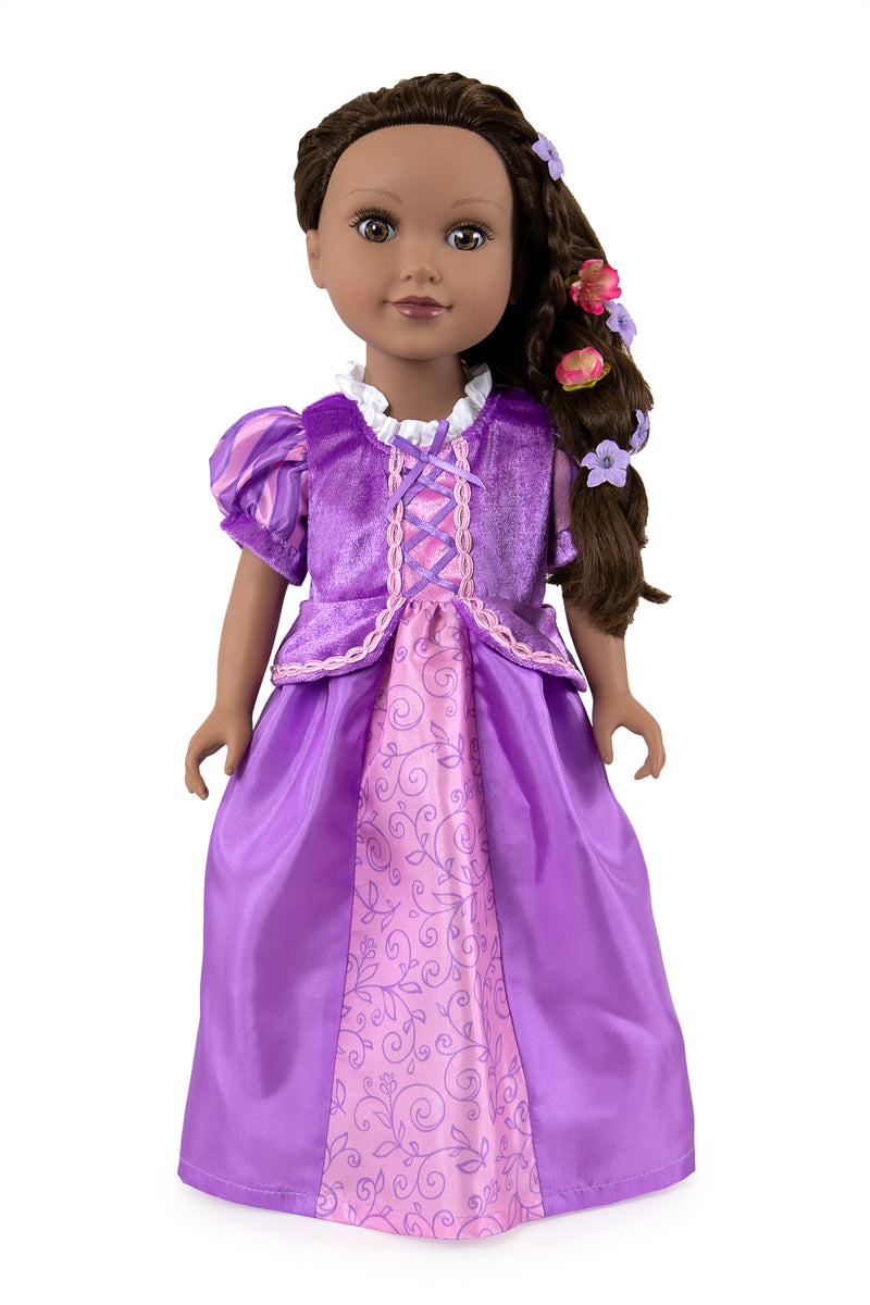 rapunzel princess doll dress costume tangled disney girl child day ball gown role play cosplay dress up fancy queen