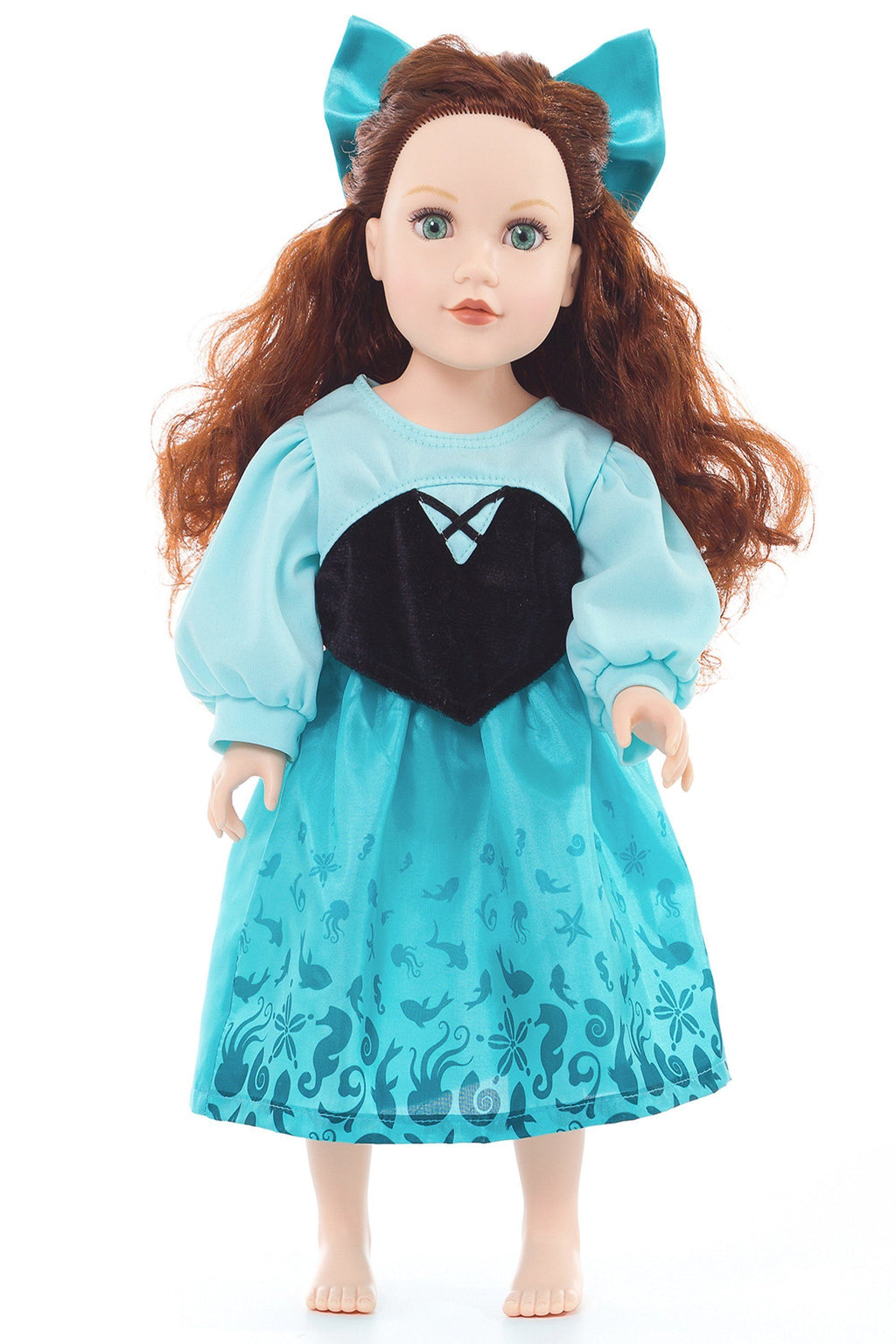 Doll Dresses & Accessories - Doll Dress Mermaid Day Dress With Hair Bow