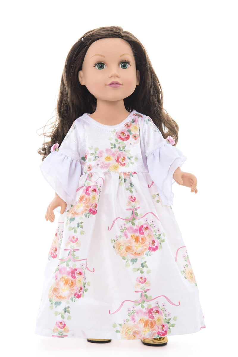 Doll Dresses & Accessories - Doll White Floral Beauty