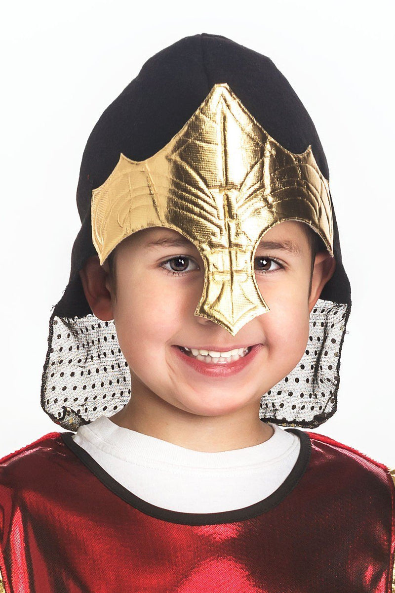 Knight And Adventure Cape Sets - Red Knight & Gold Helmet Set