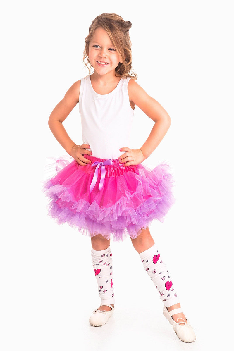 Tutu - Fluffy Tutu Fuchsia/Light Purple Ages 3-8 Years