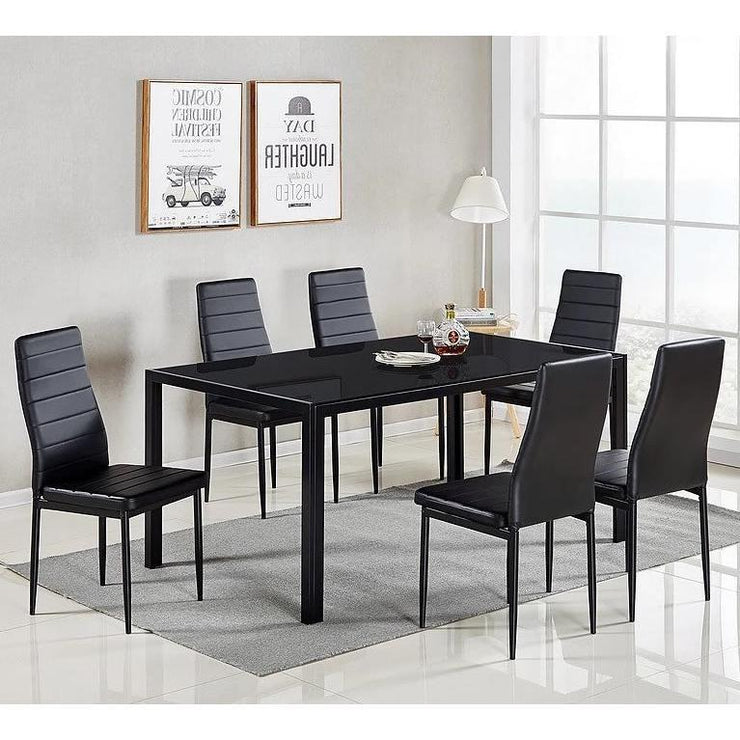 7pc Black Dining Table