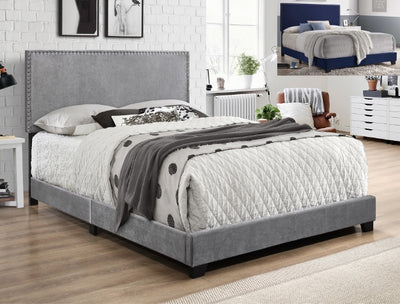 Gray Velvet Nailhead Bed Frame