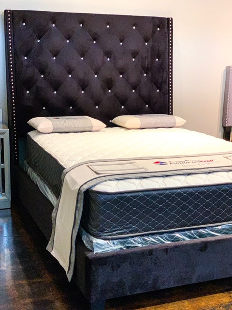 Tall Black Velvet Deluxe Bed Frame