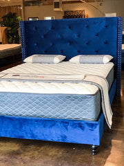 Blue Velvet Tufted Bed Frame