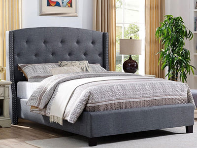 Dark Gray Linen Bed Frame