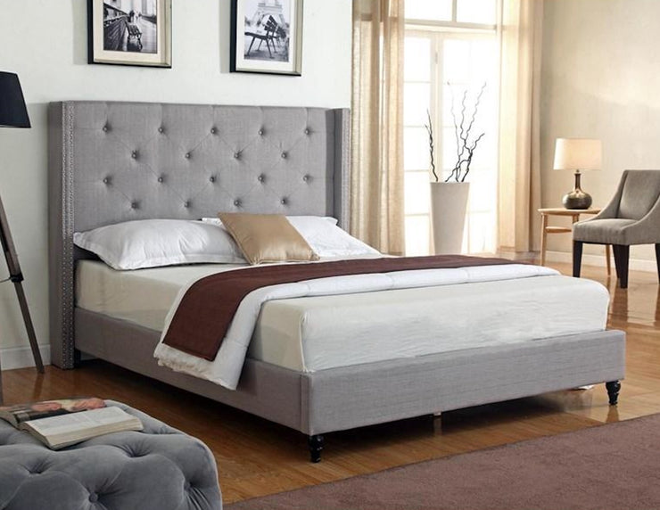 Light Gray Linen Bed Frame