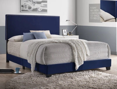Navy Velvet Nailhead Bed Frame