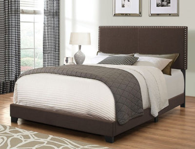 Brown Nailhead Bed Frame
