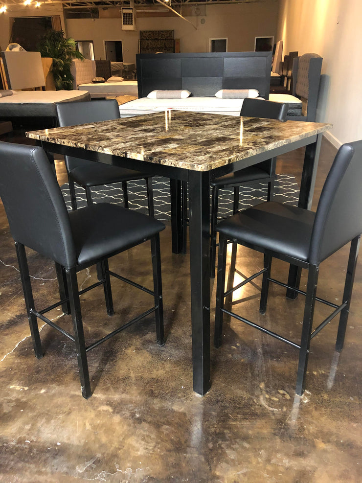 5pc Faux Marble Counter Height Table