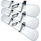 Snowboard Deck Display Rack with three Ghost Snowboards