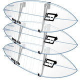 Surfboard Display Rack Mid-Full Rail with three Ghost Surfboards