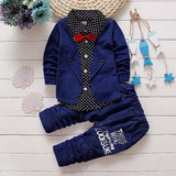 1-5yrs Kids Clothes Sets Spring Autumn warm Baby Boys Kid Long Sleeve Gentleman Suits Children shirt+Pants 2Ps Boys Clothes - EnsoStore