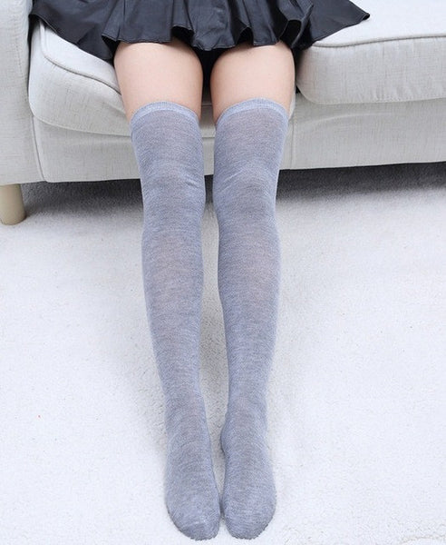 c2c2a91e1 ... 1 Pair 5 Solid Colors Fashion Sexy Warm Thigh High Over the Knee Socks  Long Cotton ...