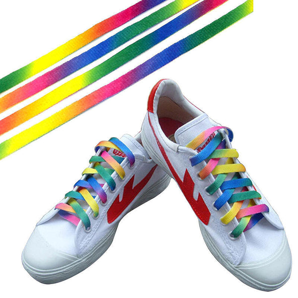1 Pairs Rainbow Flat Canvas Athletic Shoelace Sport Sneaker Shoe Laces Strings - EnsoStore
