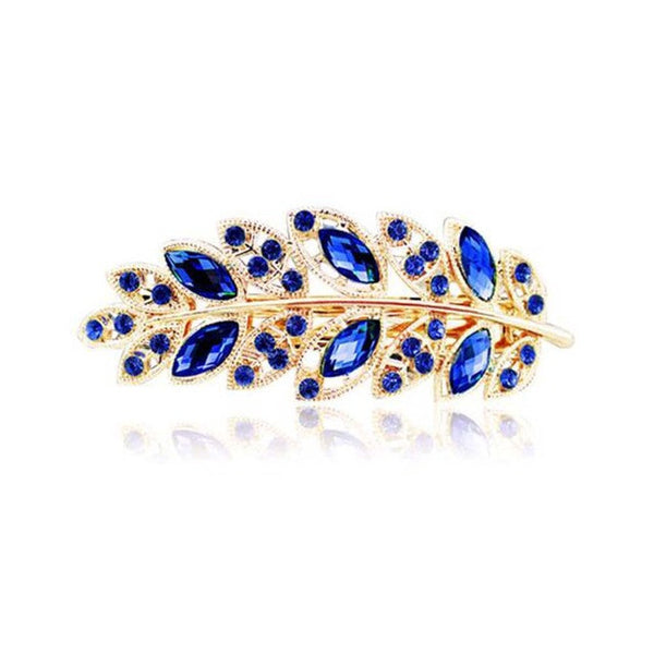 1 PC Beauty Hair Clip Leaf Crystal Rhinestone Barrette Hairpin 5 colors - EnsoStore