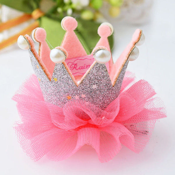1 pcs Lovely Cute Girls Crown Princess Hair Clip Lace Pearl Shiny Star Headband Hairpins Hair Accessories-Girls Clothing-Enso Store-Rose-Enso Store