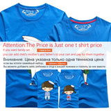 1 Piece Dad Mom Short Sleeves T-Shirts 2017 Family Matching Clothes Blue Stripe Couple T Shirt Cartoon Female Male 4xl Summer - EnsoStore