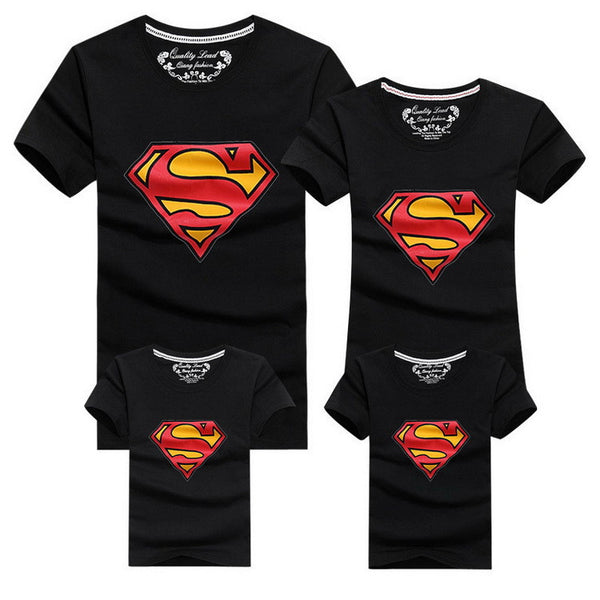 1 Piece New Family Look Superman T Shirts 9 Colors Summer Family Matching Clothes Father & Mother & Kids Cartoon Outfits, HC315-Family Matching Outfits-Enso Store-Black-FemaleS-Enso Store
