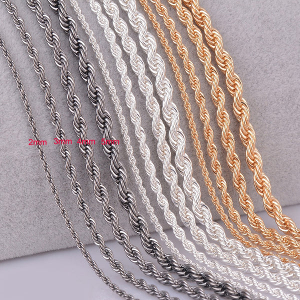 1 piece silver gold Gunmetal black Rope chain personalzied length 2mm 3mm 4mm 5mm - EnsoStore