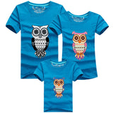 1 Piece Summer Matching Family Look Sets Cartoon Cute owl Monther Father Baby T-shirts Short Sleeve Tops Cotton Clothes - EnsoStore