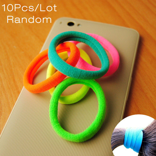10 Pcs New Korean Fashion Women Hair Accessories Cute Black Elastic Hair Bands Girl Hairband Hair Rope Gum Rubber Band E10093-Women's Accessories-Enso Store-Colorful-Enso Store