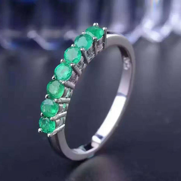 100% natural emerald ring solid 925 sterling silver emerald ring  2.5mm round natural emerald gemstones ring simple design ring - EnsoStore