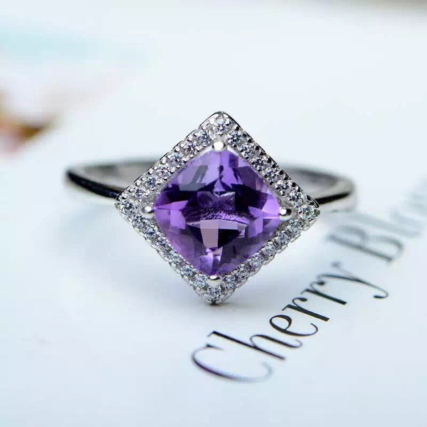 100% natural square shape amethyst ring 925 sterling silver adjustable ring from the biggest mine in China - EnsoStore