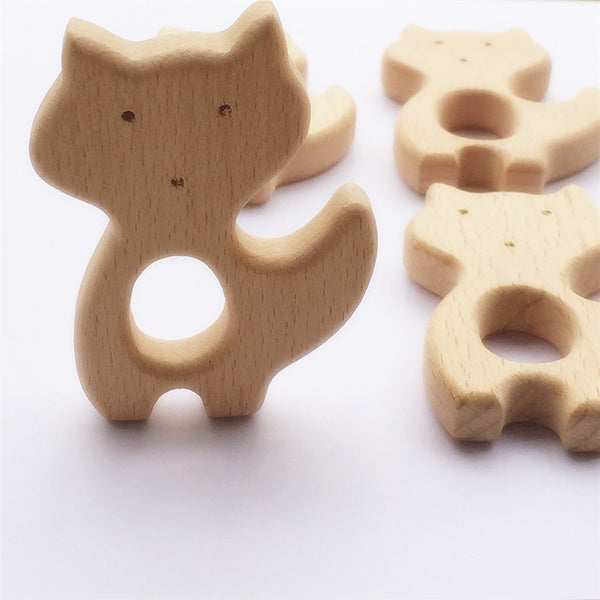 10pcs Fox Wooden Teether Nature Baby Rattle Teething Grasping Toy DIY Organic Eco-friendly Wood Teething Accessories - EnsoStore