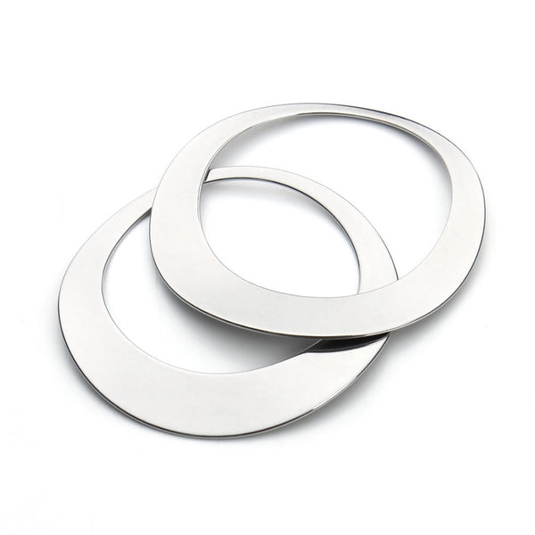 10pcs/lot 45x35mm Silver Tone Stainless Steel Round Circle Pendants Blank Stamping Tags For Necklace Jewelry Making F3426 - EnsoStore