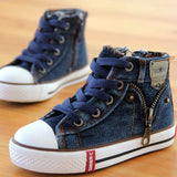 14 kinds New Arrived Size 25-37 Children Shoes Kids Canvas Sneakers Boys Jeans Flats Girls Boots Denim Side Zipper Shoes - EnsoStore