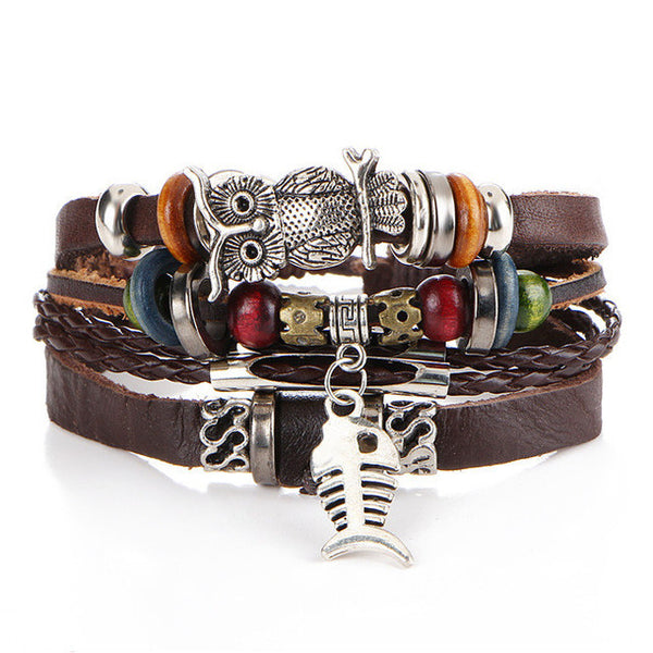 17KM Punk Design Turkish Evil Eye Bracelets For Women Men Wristband Female Owl Leather Bracelet Synthetic Stone Vintage Jewelry-Bracelets & Bangles-Enso Store-BJCS183-Enso Store