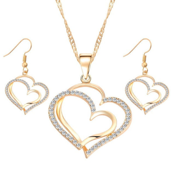 17KM Romantic Heart Pattern Crystal Earrings Necklace Set Silver Color Chain Jewelry Sets Wedding Jewelry Valentine's Gift-Jewelry Sets & More-Enso Store-Gold42C10-Enso Store