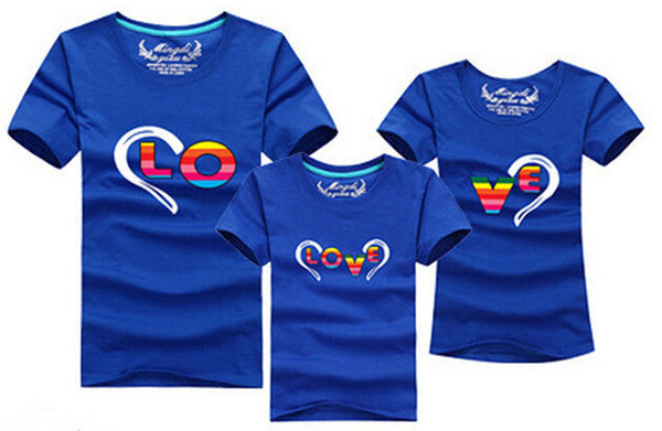 1pc 2016 Fashion Family Matching Outfits Heart-shaped T-shirt 12 Colors Korean family clothes mother father daughter Son clothes - EnsoStore