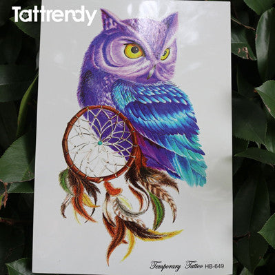 1pc body painting art  owl dream catcher death skull feather big for women men arm leg waterproof flash dreamcatcher fake tattoo - EnsoStore