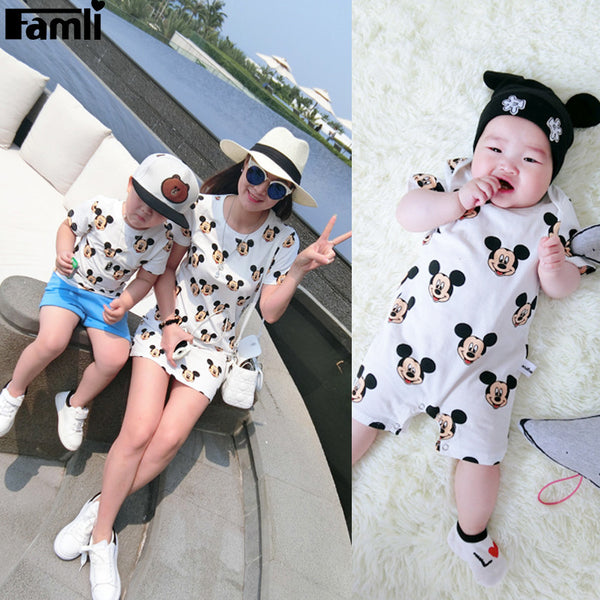 1pc Family Look T-shirts Father Son Mom Baby Daughter Summer Fashion Cartoon Short Cotton Matching Shirt Clothing Outfits - EnsoStore