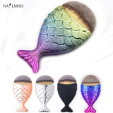 1pc Mermaid Foundation Brush Fish Scale Makeup Brushes Professional Foundation Powder Blush Brush Contour Fishtail Cosmetic Brus - EnsoStore