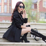 1PC Trench Coat For Women Spring Coat Double Breasted Lace Casaco Feminino Autumn Outerwear Abrigos Mujer Z015-Women's Coat-Enso Store-Black-M-Enso Store