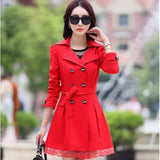 1PC Trench Coat For Women Spring Coat Double Breasted Lace Casaco Feminino Autumn Outerwear Abrigos Mujer Z015-Women's Coat-Enso Store-Red-M-Enso Store