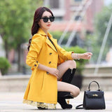 1PC Trench Coat For Women Spring Coat Double Breasted Lace Casaco Feminino Autumn Outerwear Abrigos Mujer Z015-Women's Coat-Enso Store-Yellow-M-Enso Store