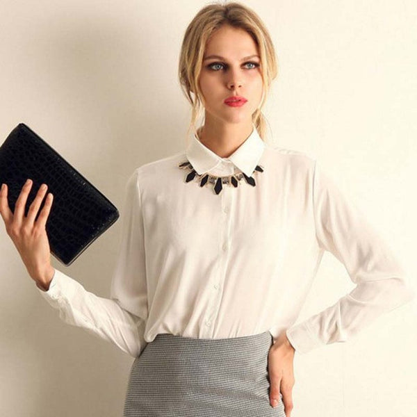1PC Women Chiffon Blouse Long Sleeve Shirt Women Tops Office Lady Blusas Femininas Camisas Mujer Z231 - EnsoStore