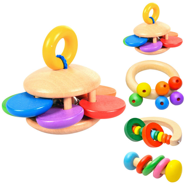 1pcs Kid Baby Toys Bell Wood Rattle Toy Handbell Musical Educational Instrument Toddlers Rattles Handle Baby Toy - EnsoStore