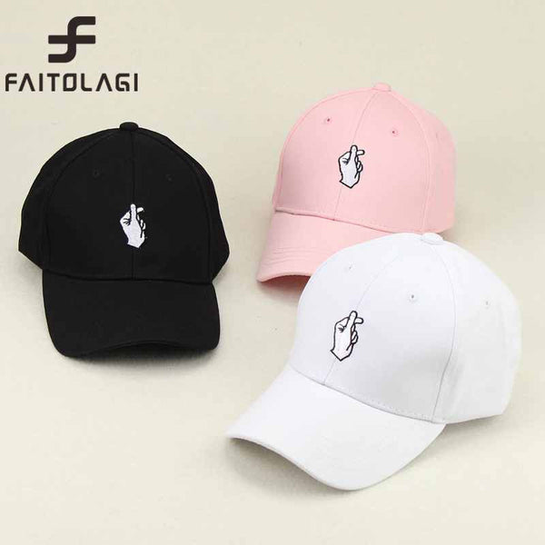 1Pcs Love Gestures Finger Embroider Golf Baseball Cap men women snapback hats Flipper Little Heart Love Sun Truck Hat Gorras - EnsoStore