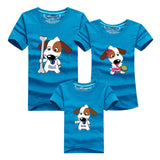 1pcs Matching Family Clothes Mom And Son Shirt 2016 Casual Cartoon Dog Short-sleeve T-shirt For Mother Father Baby Mae E Filha - EnsoStore